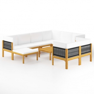 vidaXL 10-tlg. Garten-Lounge-Set mit Kissen Cremeweiß Massivholz Akazie