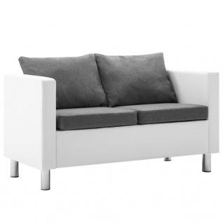 vidaXL 2-Sitzer-Sofa Kunstleder Weiß und Hellgrau