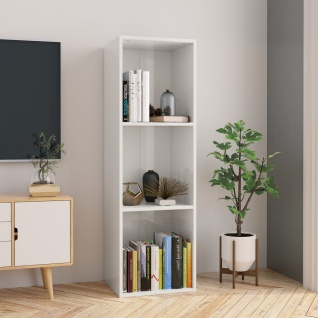 vidaXL Bücherregal/TV-Schrank Hochglanz-Weiß 36x30x114 cm Spanplatte