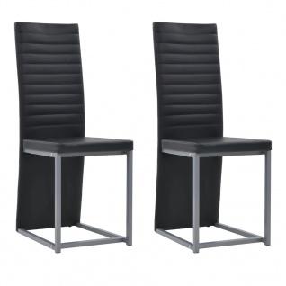 vidaXL Esszimmerstühle 2 Stk. Kunstleder 38, 5 x 52 x 100, 5 cm Schwarz