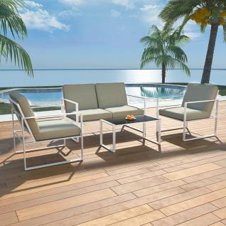 vidaXL 4-tlg. Garten-Lounge-Set mit Auflagen Stahl Weiß