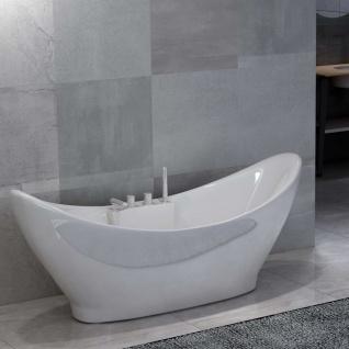 vidaXL Freistehende Badewanne mit Wasserhahn Weiß Acryl 183 L
