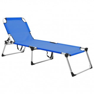 vidaXL Extra Hohe Klappbare Senioren-Sonnenliege Blau Aluminium