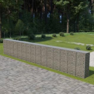 vidaXL Gabionenwand mit Abdeckung Verzinkter Stahl 900×50×150 cm