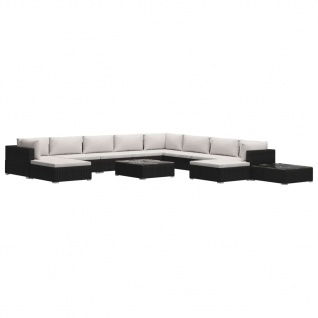 vidaXL 12-tlg. Garten-Lounge-Set mit Auflagen Poly Rattan Schwarz - Vorschau 2