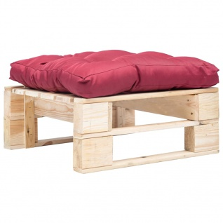 vidaXL Garten-Palettenhocker mit Rotem Kissen Holz Natur