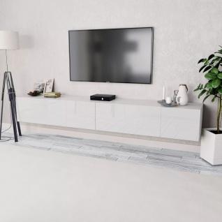 vidaXL TV-Schränke 2 Stk. Spanplatte 120 x 40 x 34 cm Hochglanz Weiß
