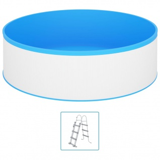 vidaXL Planschbecken mit 4-Stufen-Leiter 350x90 cm Weiß