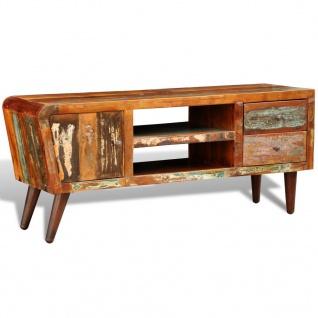 Design Antik Teak TV-Tisch Lowboard Sideboard 2 Schubladen