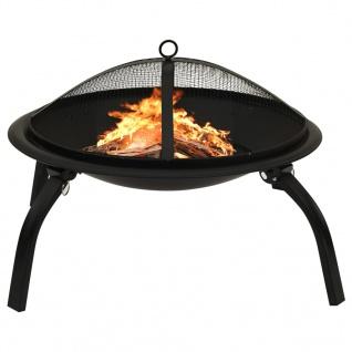 vidaXL 2-in-1 Feuerstelle und Grill mit Schürhaken 56x56x49 cm Stahl