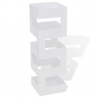Schirmständer Schirmhalter Gehstock Stahl quadratisch weiß 48, 5 cm