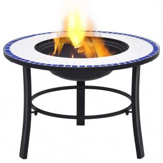 vidaXl Mosaik-Feuerstelle Blau und Weiß 68 cm Keramik - Vorschau 2