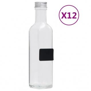 vidaXL Glasflaschen mit Schraubverschluss 12 Stk. Quadratisch 250 ml