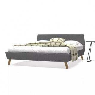 vidaXL Bett mit Matratze 160 x 200 cm Stoff Hellgrau