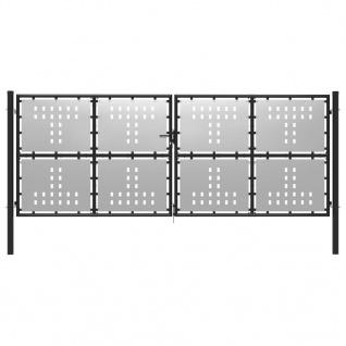 vidaXL Gartentor Stahl 400 x 150 cm Silbern