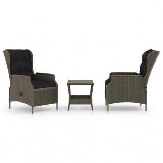 vidaXL 3-tlg. Garten-Lounge-Set mit Auflagen Poly Rattan Braun - Vorschau 1