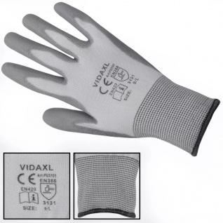 vidaXL Arbeitshandschuhe PU 24 Paar Weiß und Grau Gr. 9/L - Vorschau 3