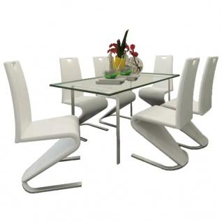 vidaXL Esszimmerstühle 6 Stk. Weiß Kunstleder