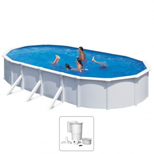 KWAD Schwimmbad Steely Deluxe Oval 7, 3 x 3, 6 x 1, 2 m
