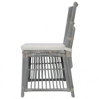 vidaXL Esszimmerstühle mit Kissen 4 Stk. Grau Natur Rattan - Vorschau 5