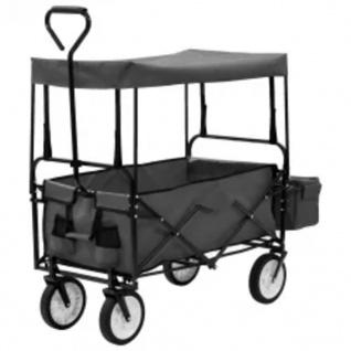 vidaXL Klappbarer Handwagen mit Sonnendach Stahl Grau