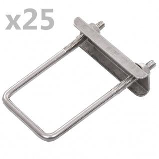 vidaXL U-Bügel für Zaunpfosten 25 Sets 60 x 40 mm