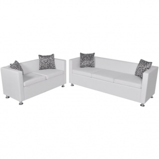 vidaXL Sofa-Set Kunstleder 3-Sitzer + 2-Sitzer Weiß