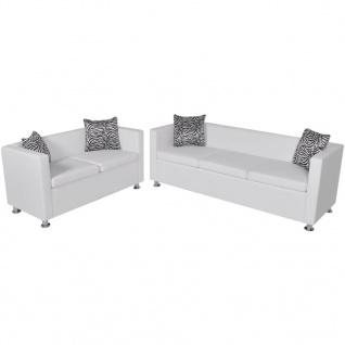 vidaXL Sofa Set Kunstleder 3-Sitzer und 2-Sitzer Weiß