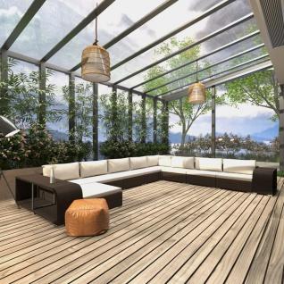vidaXL 11-tlg. Garten-Lounge-Set mit Auflagen Poly Rattan Braun
