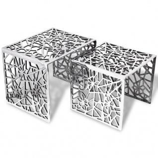 vidaXL Beistelltische 2 Stk. Quadratisch Silbern Aluminium