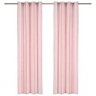 vidaXL Vorhänge mit Metallösen 2 Stk Baumwolle 140x225cm Rosa Streifen