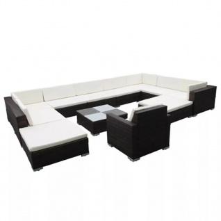 vidaXL 12-tlg. Garten-Lounge-Set mit Auflagen Poly Rattan Braun - Vorschau 2