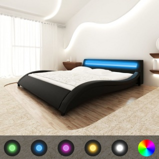 Schwarzes geschungenes Kunstlederbett Foam Matratze/LED Leiste 200x140