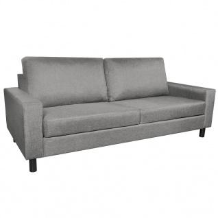 vidaXL 3-Sitzer-Sofa Hellgrau Stoff - Vorschau 2