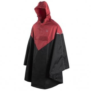 Willex Regenponcho mit Kapuze Größe S / M Rot und Schwarz 29221