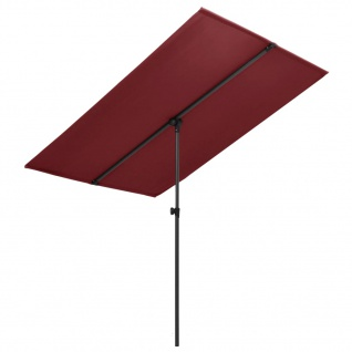 vidaXL Sonnenschirm mit Aluminium-Mast 2x1, 5 m Bordeauxrot