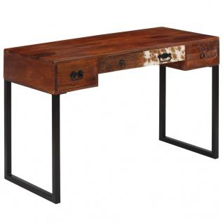 vidaXL Schreibtisch Sheesham-Holz Massiv und Echtleder 117x50x76 cm