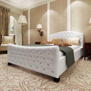 vidaXL Doppelbett mit Matratze Kunstleder Weiß 180x200 cm