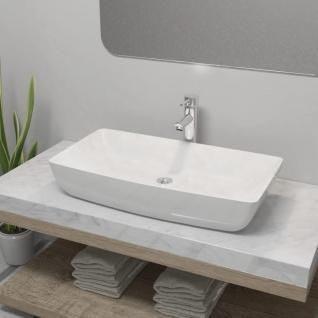 vidaXL Bad-Waschbecken mit Mischbatterie Keramik Rechteckig Weiß