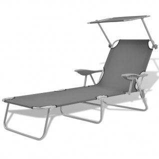 vidaXL Sonnenliege mit Sonnenschutz Stahl Grau