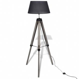 Verstellbare Stativ-Stehlampe aus Holz mit Stoffschirm Schwarz