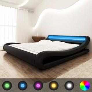 vidaXL Bett+LED-Streifen+Matratze Kunstleder 140x200 cm Curl Schwarz