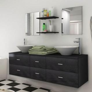 vidaXL 7-tlg. Badmöbel und Waschbecken Set Schwarz