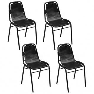 vidaXL Esszimmerstühle 4 Stk. 49x52x88 Schwarz Echtleder