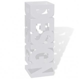 Schirmhalter Schirmständer Gehstöcke Stahl weiß quadratisch 48, 5 cm