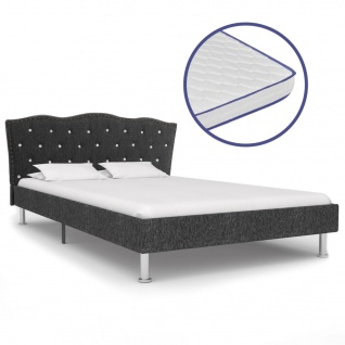 vidaXL Bett mit Memory-Schaum-Matratze Dunkelgrau Stoff 120×200 cm