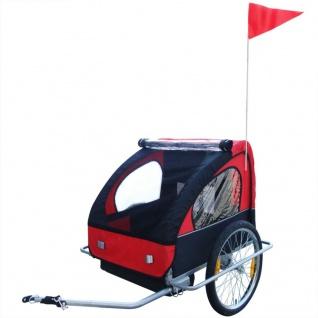 vidaXL Kinder Fahrradanhänger mit zusätzlicher Kupplung Rot 36 kg - Vorschau 3