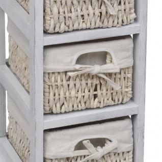 vidaXL Holz-Schränkchen mit 3 Flechtkörben Weiß - Vorschau 4
