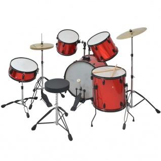 vidaXL Schlagzeug Komplettset Pulverbeschichteter Stahl Rot Erwachsene - Vorschau 2
