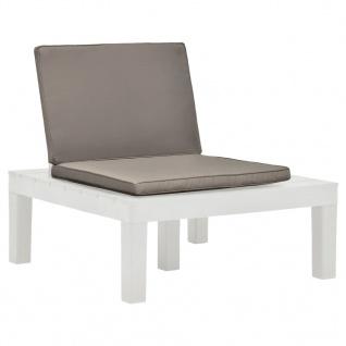 vidaXL Garten-Lounge-Stuhl mit Sitzpolster Kunststoff Weiß